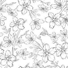 Cherry blossom seamless pattern. Art Print