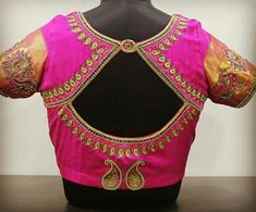 Want to check out complete blouse back neck designs catalogue of this year? Here are 30 latest models you can wear with any saree! Blouse Back Neck Designs, Salwar Neck Designs, Best Blouse Designs, Simple Blouse Designs, Bridal Blouse Designs, Saree Blouse Designs, South Indian Blouse Designs, Blouse Styles, Designer Blouse Patterns