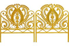 Pair of vintage yellow scroll twin headboards. Made of painted wicker. A favorite industry resource for vintage and one-of-a-kind furnishings to suit any. Yellow Headboard, Wicker Headboard, Twin Headboard, Bed Headboards, Headboard Ideas, Daybed, Resin Wicker Furniture, Vintage Furniture, Painted Wicker
