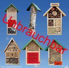Insektennisthilfen aus Baumarkt, Gartencenter oder Discounter sind in der Regel völlig unbrauchbar.