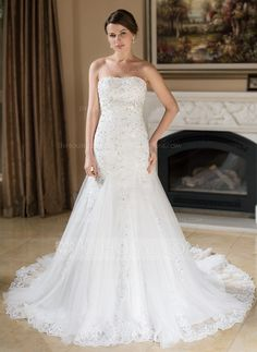 Wedding Dresses - $220.99 - A-Line/Princess Sweetheart Chapel Train Satin Tulle Wedding Dress With Lace Beadwork Sequins (002000377) http://jjshouse.com/A-Line-Princess-Sweetheart-Chapel-Train-Satin-Tulle-Wedding-Dress-With-Lace-Beadwork-Sequins-002000377-g377