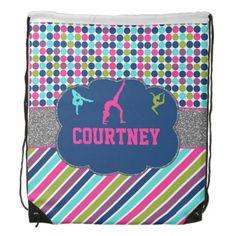 Girls Gymnastic or Dance Monogram Name Back Pack Drawstring Backpack #drawstring #backpack