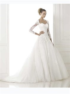 2015 White Ball Gown Sweetheart Long Sleeves Zipper Lace Tulle  Wedding Dresses Bridal Gowns AWD420415