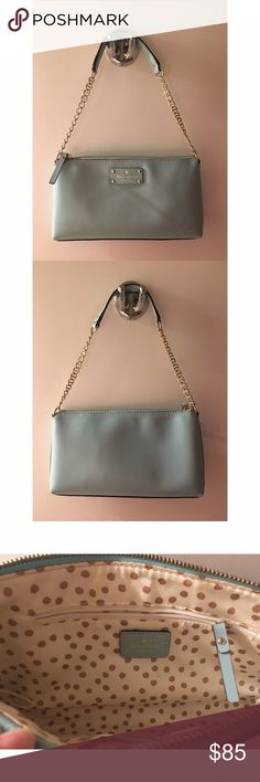 Kate Spade Mint Purse This adorable Kate Spade purse is the perfect addition to your collection that you've been waiting for. No blemishes, scuffs, or discoloring. Comfortably hold a small wallet, keys and your phone while adding some glamour and color to your wardrobe. 👗👜💋Reasonable offers will be considered using the offer option. kate spade Bags Shoulder Bags