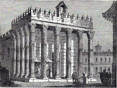 Antique print Roman Temple of Évora Templo de Diana Evora 1836 stampa antica