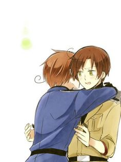 Italy and Romano, Hetalia. I like how Romano looks so suprised. I mean, he's your brother. You should have known a hug was coming. X3