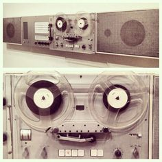 This mid-century tape, loudspeaker, and control unit system has some major personality! Looks so happy, wouldn't you say?