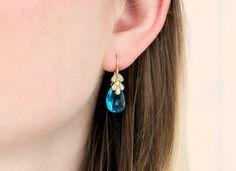 Sky Blue Topaz Wisteria Drop Earrings in 14k Gold