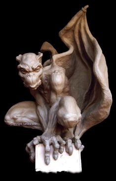 Sentinel Gothic Gargoyle Statue Large Scary Guardian by SandraLiraSculpture Fantasy Creatures, Mythical Creatures, Oil Based Clay, Sculpture Art, Sculptures, Gothic Gargoyles, Gargoyle Tattoo, Angels And Demons, Gothic Art