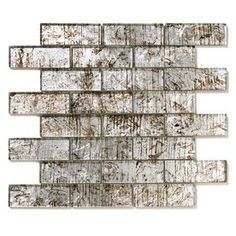 Solistone Folia Glass Silver Maple X Glass Brick Mosaic Wall Tile (Common: X Actual: 12 Glass Tile Backsplash, Mosaic Wall Tiles, Glass Subway Tile, Mosaic Glass, Glass Tiles, Backsplash Ideas, Tile Ideas, Outdoor Walls, Indoor Outdoor