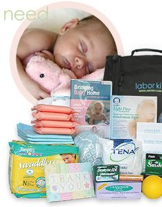 Labor Kit- wish someone had packed me one for my baby shower. I think it would make a great inexpensive gift for my fellow mums-to-be!