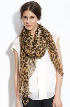 Alexander McQueen 'Leopard Skull' Chiffon Scarf Womens Autumn/ Brown One Size Leopard Print Outfits, Leopard Scarf, Cheetah Print, Animal Print Scarf, Animal Print Fashion, Animal Prints, Chiffon Scarf, Silk Chiffon, Lv Scarf