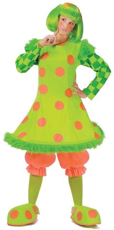 Lollie the Clown Funny Ladies Costume - Calgary, Alberta. Lollie the clown is the cutest green clown you ever did see. This costume comes with bright neon orange bloomers with an elastic waist and elastic cuffs. A hilariously cute hoop dress that is neon yellow with orange polka-dots, green fun-fur around the hoop and at the shoulder and dark and bright green checkers on the sleeves. Bright yellow leggings and shoe covers. Shoe covers have orange polka-dots on them.