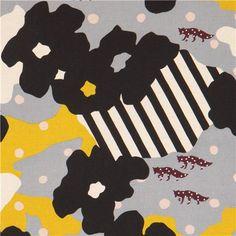 extra wide black yellow echino poplin fabric fox dot blossom 1
