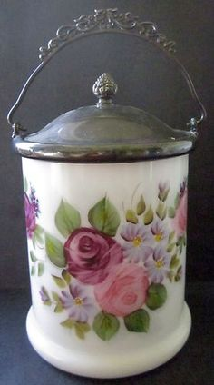 Early 1900's WM A. ROGERS Hand Painted signed Glass BISCUIT Barrel Jar  149.00