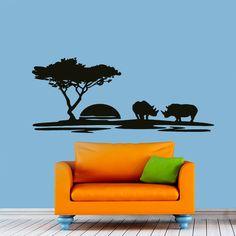 Wall Decals Landscape Sunset Rhino Decal Nursery Art Bedroom Vinyl Sticker Wall Decor Murals Bedroom: Amazon.co.uk: Kitchen & Home