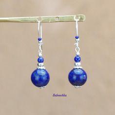 """Boucles d'oreilles argent 925 """"laïa"""" en lapis lazuli"""