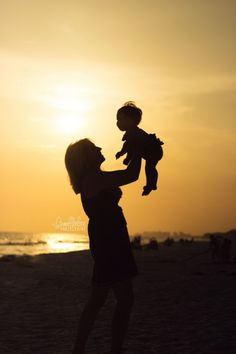 Family Beach Photography - Sunset Photography - Silhouette - Mommy & Daughter - Destin, FL - Bumblebee Photography