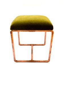 Upholstered Copper Bench Olive Velvet por BluMintShop en Etsy