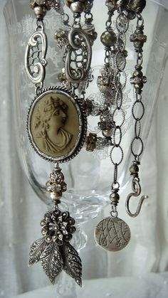 Upcycled Antique Victorian Lava Cameo Assemblage Necklace