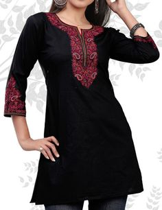 Indian tunic top (also called Kurti) in cotton with embroidery work made by weavers of from India. These tunic tops are suitable for all occasions and can worn with the jeans or matching legging.  $ 49.00