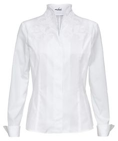 Blusa de vestir manga larga All White Outfit, White Outfits, Bluse Outfit, Van Laack, All White Party, Ell, Business Outfits, White Fashion, Traditional Dresses