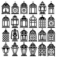 Illustration about Set of 24 Ramadan Lanterns silhouettes vector icons _ Happy Ramadan. Illustration of celebration, greeting, design - 82071481 Ramadan Activities, Ramadan Crafts, Ramadan Decorations, Light Decorations, Ramadan Lantern, Arabic Decor, Illustrator Cs5, Paper Flowers Craft, Diy Crafts Hacks