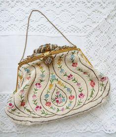 0b9c95a58cab61 French Hand Beaded Evening Bag with Cloisonné Embroidery Flapper Purse  1920's Art Nouveau Art Deco Point de Beauvais Gold Chain Handle