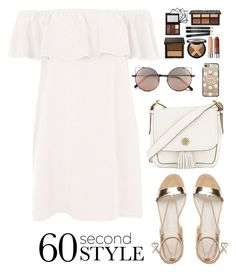 """""""60 Second Style: Off-Shoulder Dress"""" by dora04 ❤ liked on Polyvore featuring Topshop, Tory Burch, Linda Farrow, Casetify, offshoulderdress and 60secondstyle"""