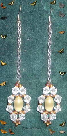 Bicons and chain handmade earrings. Aretes aros pendientes artesanales