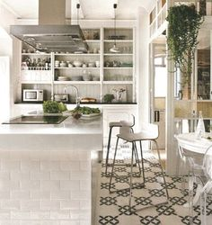 // tile and white, open shelving