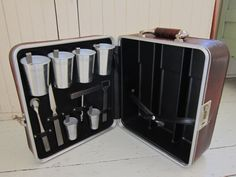 Travel Bar Vintage Cocktail Set Leather Suitcase by Bingville, $45.00