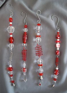 Christmas Ornament Set of Four Red and Crystal Beaded Ornaments. via Etsy.