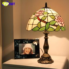 FUMAT Stained Glass Table Lamp Pink /Blue Roses Glass Art Lamp European Desk Lamp Abajur de Mesa Bedside Light Fixtures Lamps #Affiliate