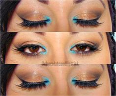 Neutral Makeup with a Turquoise POP of Colour