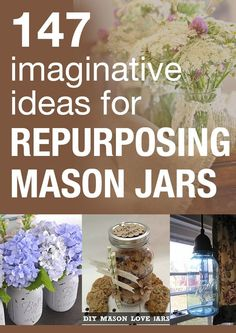 147 Imaginative ideas for Repurposing Mason Jars Diy Arts And Crafts, Jar Crafts, Creative Crafts, Diy Craft Projects, Craft Ideas, Bottles And Jars, Glass Jars, Mason Jar Gifts, Mason Jars