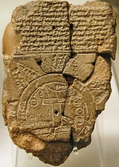 """Babylonian clay tablet, the oldest world map (6th century BC), from Sippar in southern Iraq. Known by scholars as the """"Mappa Mundi"""" it is the only known world map dating from the Neo-Babylonian period. It shows the world as round and surrounded by a circular sea, and placing Babylon at the center. Mesopotamia British museum - المتحف البريطاني"""