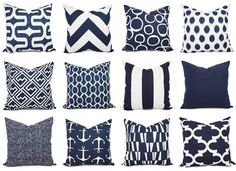 Pick one navy pillow covers in a popular print! These blue cushion covers fit any size pillow insert and are 100% cotton. These navy blue throw pillow covers would be a great addition to your living room! *****This listing is for just the pillow covers, the inserts are not included.***** Simply select the fabrics you would like at checkout: 1. Embrace - Navy and white geometric pattern (subtle variations in the navy) 2. Chevron - Large navy and white chevron pattern 3. Freehand - Navy and...