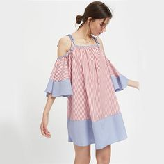 Sleeve Tunic Dress Cute Ladies Tie Shoulder Slip Dresses Women Casual Beach Dress
