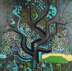 Bedri Rahmi Eyüboğlu (Turkish, 1911-1975) - Kartal Baba Çınarı (Eagle Dad Planetree), 1946 Image Glass, Pics Art, Turkish Art, Sculpture Painting, Tree Of Life, Mosaic Art, City Photo, Art Drawings, Contemporary Art