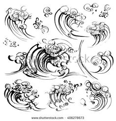 Waves brush ink sketch handdrawn serigraphy print set - stock vector