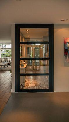 (From Joep van Os Architectenbureau) Rustic Bedroom Design, Room Door Design, Rustic Home Design, Interior Design Living Room, Modern Design, Modern Exterior Doors, Modern Door, Aluminium Glass Door, Aluminium Door Design