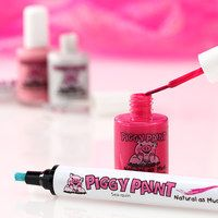 Piggy Paint: It's as natural as mud! Mother of two Melanie Hurley was compelled to create the company after a glob of solvent-based nail polish her daughter was applying ate through a foam plate. Made in the USA, her line of kid-friendly colors is non-toxic, odorless, hypoallergenic and free of harsh, smelly chemicals, so painting piggies is always worry-free.