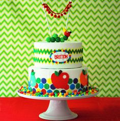 Kelly Lyden shares the sweet details from her Very Hungry Caterpillar birthday party dessert table, as featured in The Party Dress Magazine. Desserts from Two Dessert Party, Birthday Party Desserts, Dessert Table, Birthday Parties, Birthday Ideas, Girl Parties, Cake Party, Cake Birthday, Pretty Cakes