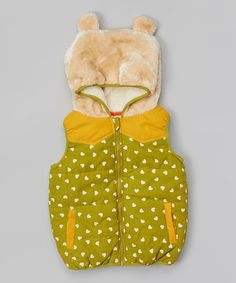 Take a look at this Green & Beige Heart Hooded Vest - Toddler on zulily today!