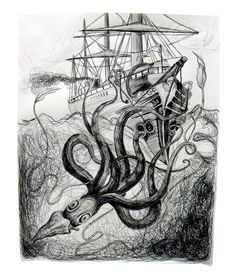 Giant Squid Attack-Nikki Welch Pen and Ink on 11x14 Drawing Paper helpshopgallery.com    artpieceaday.blogspot.com