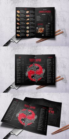 Bifold A4 & US Letter Food Menu PSD template. This design is perfectly Suitable for Japanese Restaurant, Catering, Grill bar etc. Easy to edit font, text, color, fully adobe Photoshop format. Japanese Restaurant Menu, Restaurant Menu Template, Restaurant Menu Design, Restaurant Ideas, Menu Card Design, Food Menu Design, Graphisches Design, Layout Design, Graphic Design