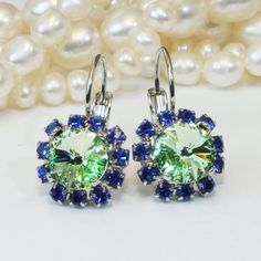 Blue Green Earrings Sapphire Royal Blue Mint Green by TIMATIBO