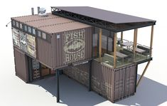 Container fish house Model available on Turbo Squid, the world's leading provider of digital models for visualization, films, television, and games. Container Van House, Cargo Container Homes, Container Shop, Building A Container Home, Storage Container Homes, Container Buildings, Container Architecture, Container Office, Sustainable Architecture