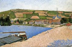 Paul Signac.Hillside from Downstream, Les Andelys, 1886